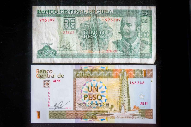 Cuban Money - CUP local Currency (above) & CUC convertible peso (below)
