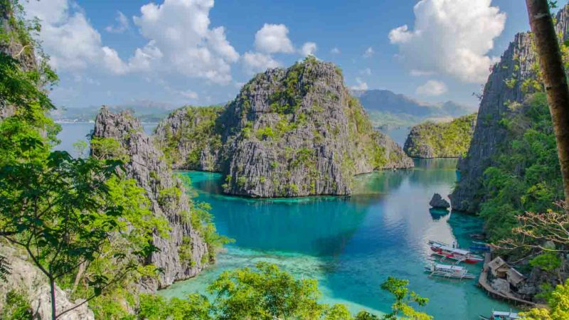 Famous viewpoint from Kayangan Lake Coron Island Philippines