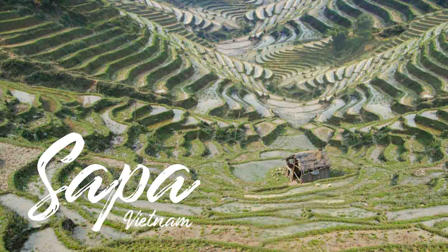 featured image for Sapa Vietnam Travel and Trekking guide - Rice terraces with a small hut and text over image