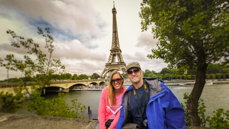 Couple in front of the Eiffel tower in Paris