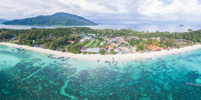 Pattaya Beach on Koh Lipe aerial photo with shore and boats