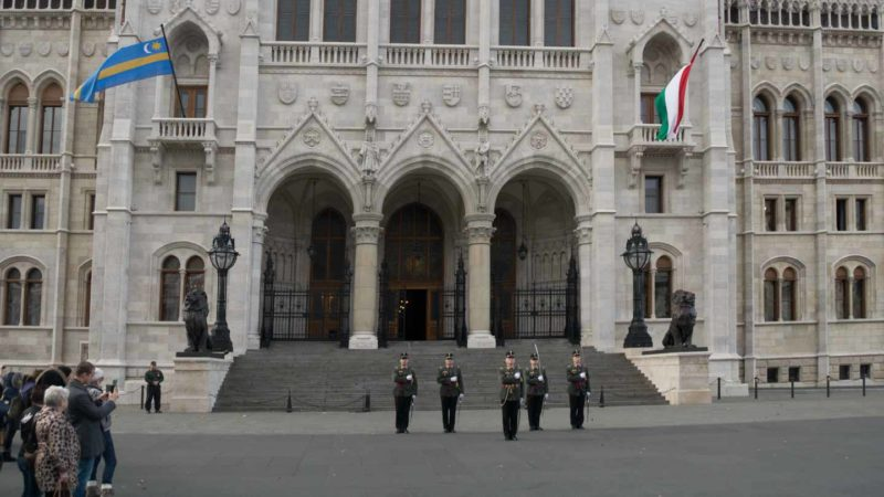 The changing of the guard at the Budapest Parliament building