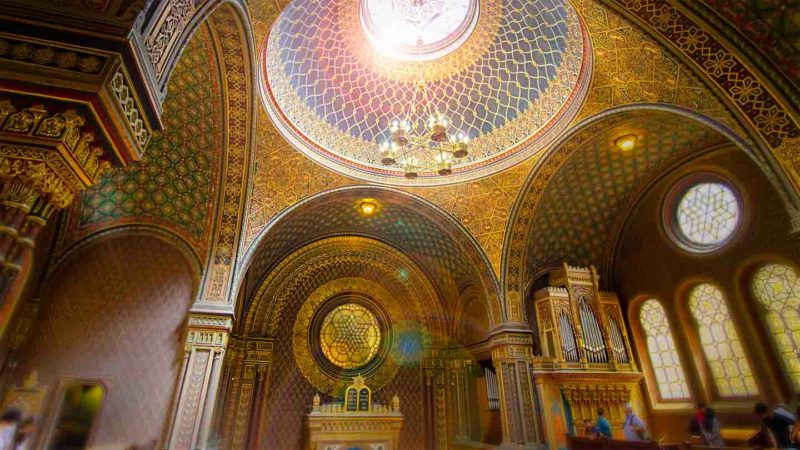 View of the interior of the Spanish Synagogue in Prague's Jewish Quarter - Beautiful Moorish Architecture -Best things to do in Prague