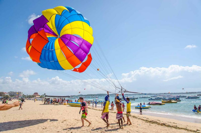 Parasailing on the beach in Bali