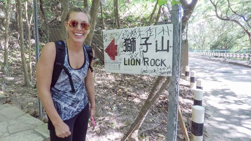 Sign for Lion rock Hike at the start of the actual trail head