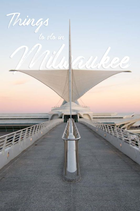 pinterest pin for things to do in Milwaukee - MAM Milwaukee art museum at sunset