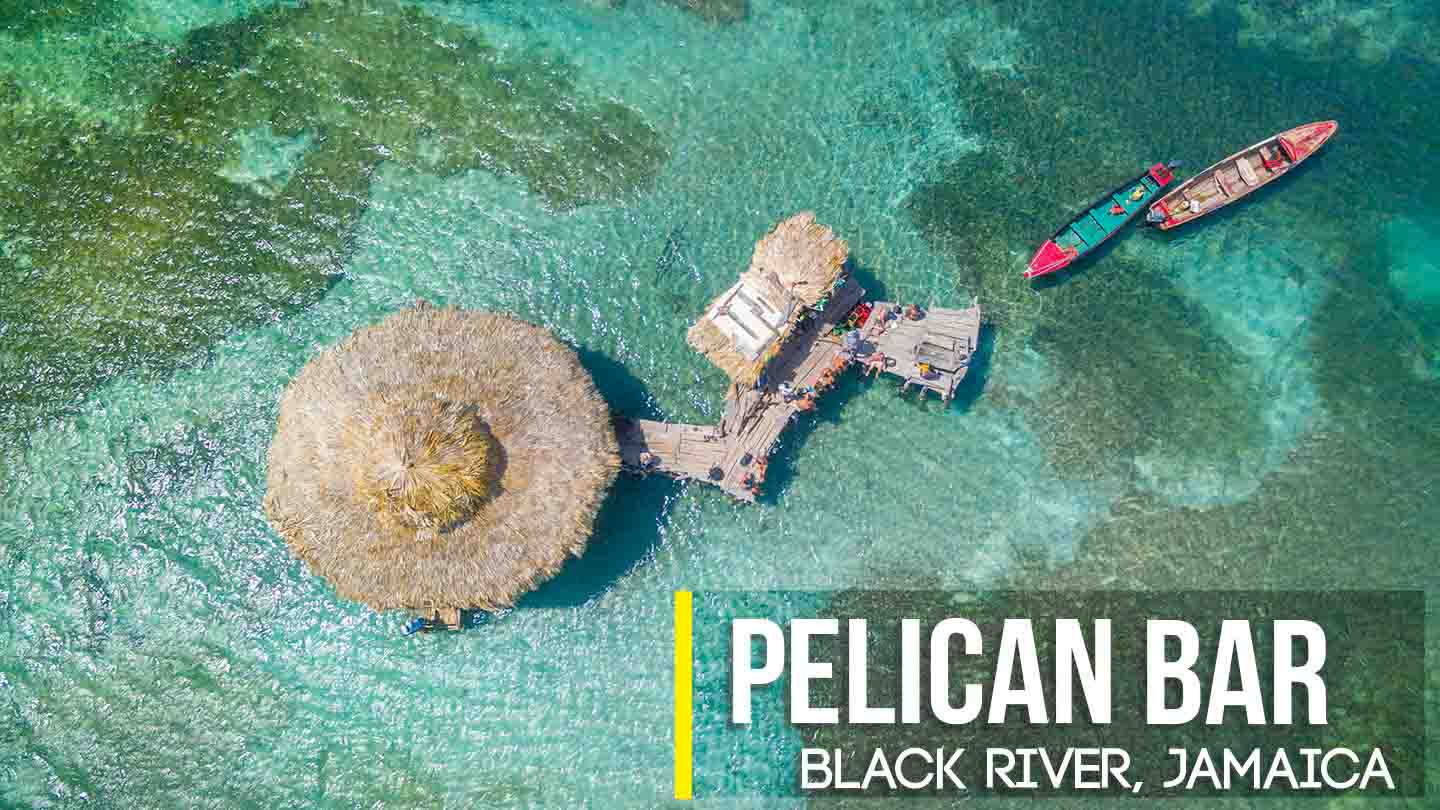 Drone Photo of Floyd's Pelican bar near Black River Jamaica