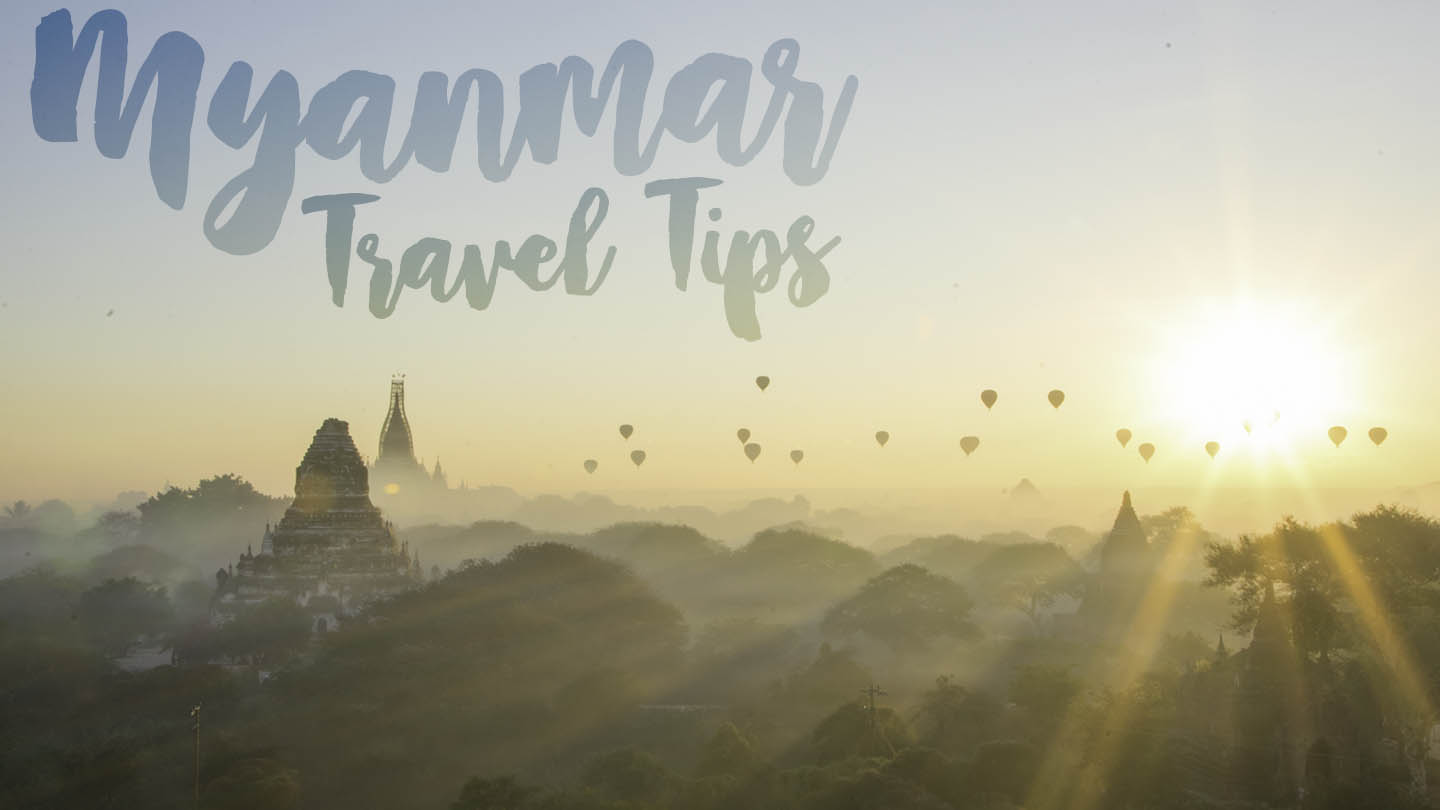 featured image with text Myanmar travel tips - Yellow and blue sunrise over bagan with starburst