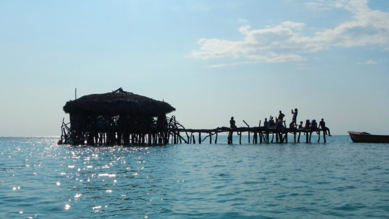 The Pelican bar in Jamaica silhouetted in the later afternoon