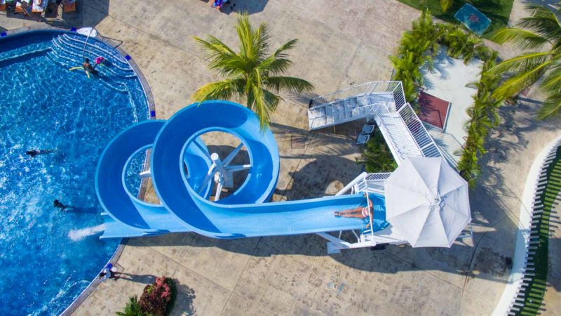 Aerial photo of the Moon Palace Jamaica Grande of a woman going down the slide