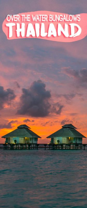 pinterest pin for Over the water bungalows in thailand - floating villas at sunset