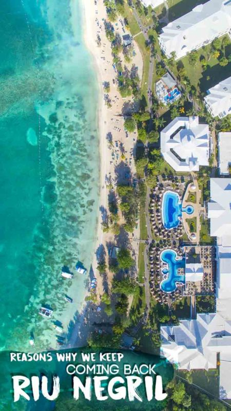 pinterest pin for Riu Negril Jamaica resort drone photo of proprety