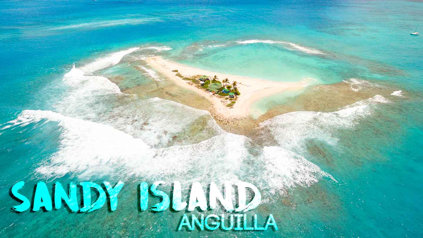 Feature image for Sandy Island in Anguilla - Drone phone of small island and surf