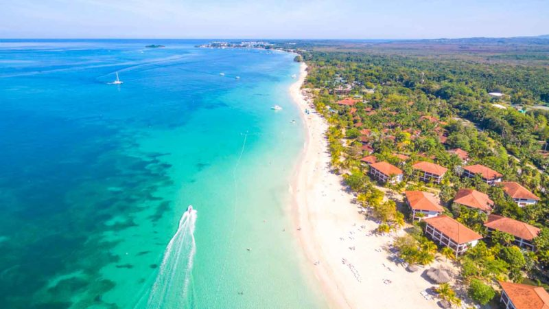 Ariel Photo Of 7 Mile Beach In Negril Jamaica With Boat Front The