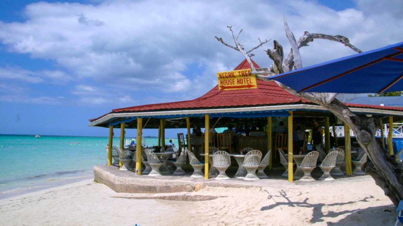 Beach bar just a few feet from the sea in Negril