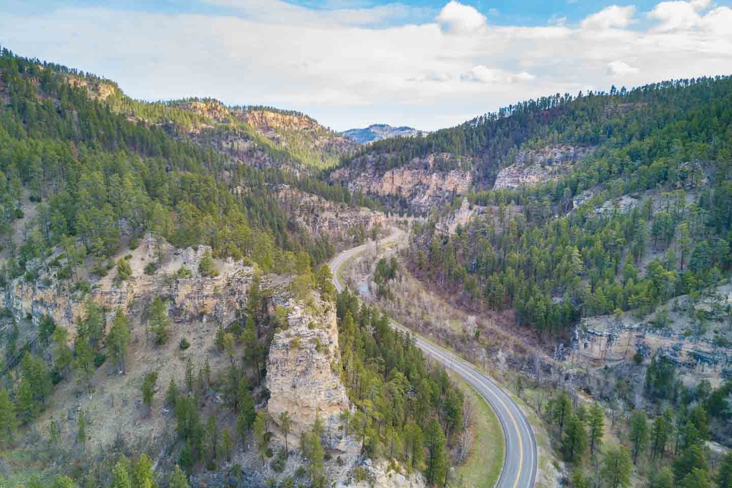Aerial Photo of Spearfish canyon - a highlight of a south Dakota Road trip Things to do near Mt Rushmore