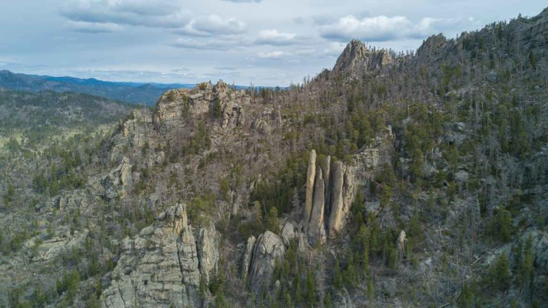 Aerial photo of the Black Hills National Forest near Mt. Rushmore in South Dakota