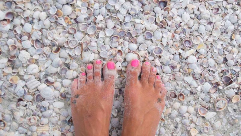 Womans feet in a pile of shells near fort myers Florida - Shelling is a top thing to do in Fort Myers and Sanibel