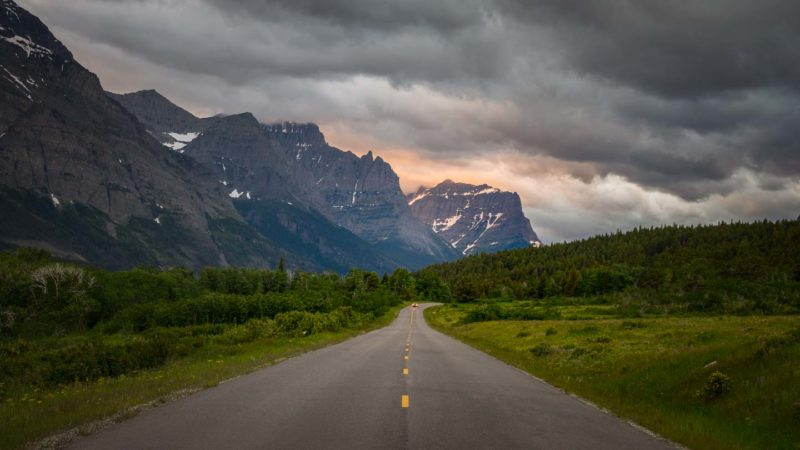 Roads in Glacier National Park on the best route to Alaska