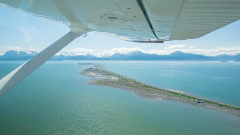 View of the Homer Spit from a small plane - things to see in Homer, AK
