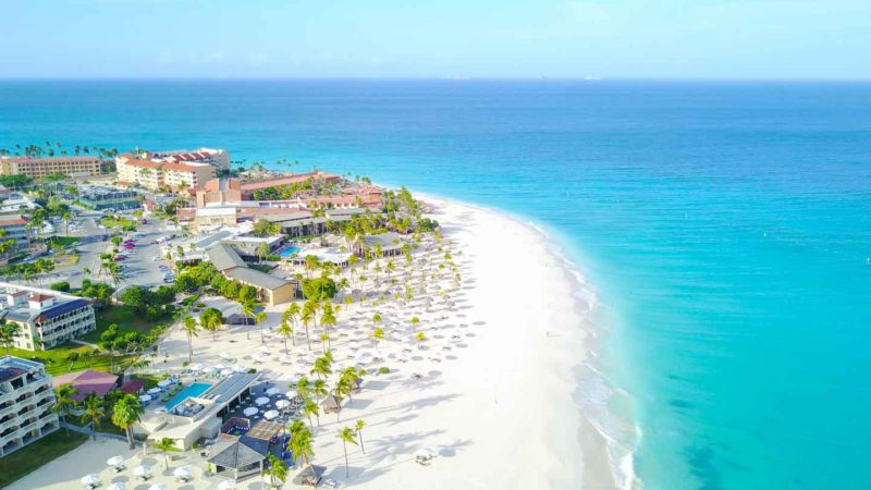 Aerial Photo of Manchebo Beach in Aruba - top honeymoon places