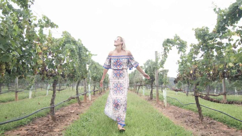 girl walking through vineyards in Yadkin Valley Winston Salem North Carolina
