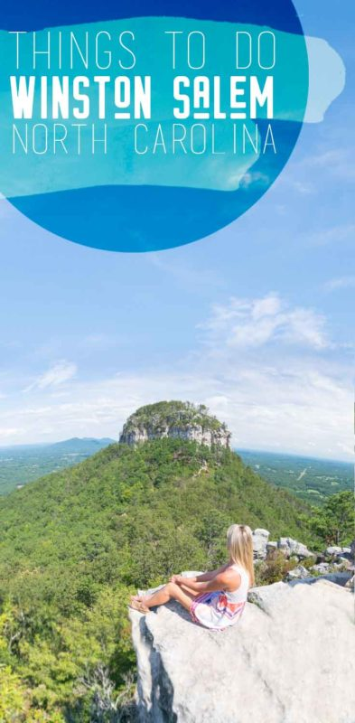 pinterest pin for things to do in winston salem - woman at pilot mountain in north carolina
