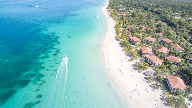 Best place for a honeymoon in Jamaica - Negril drone photo of 7 mile beach