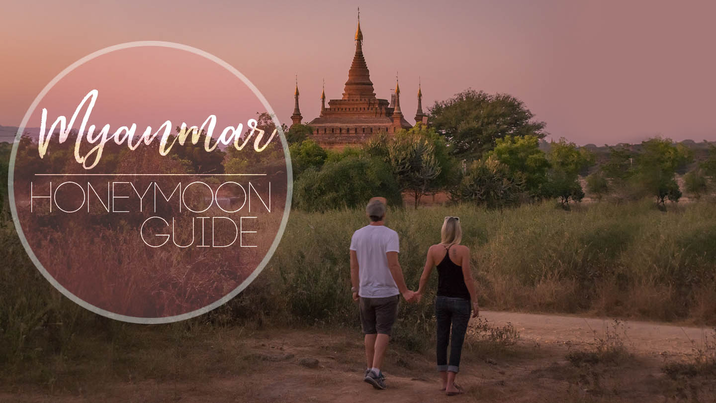 featured image for Myanmar Honeymoon couple walking in front of the temples of Bagan