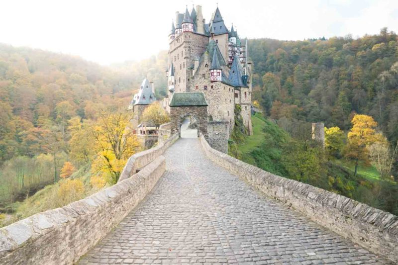 Bridge leading to Eltz Castle (Burg Eltz) in Wierschem Germany