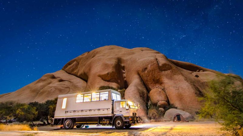 Overland truck at night at spitzkoppe - Things to do in Namibia
