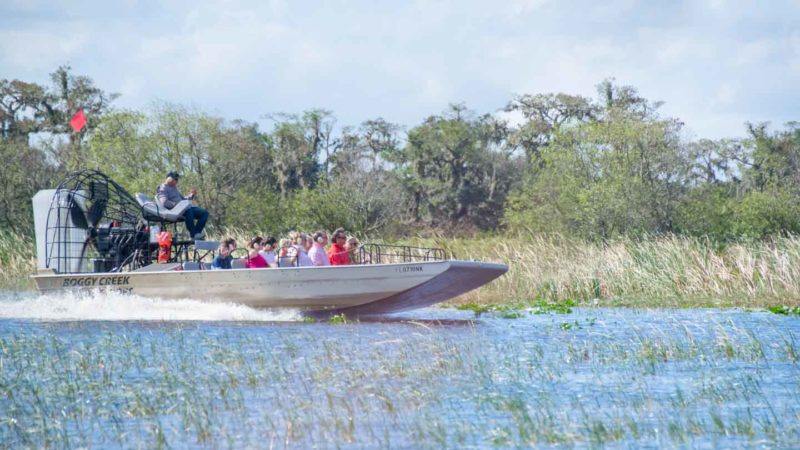 Fan boat driving on waters in Kissimmee florida - top attractions