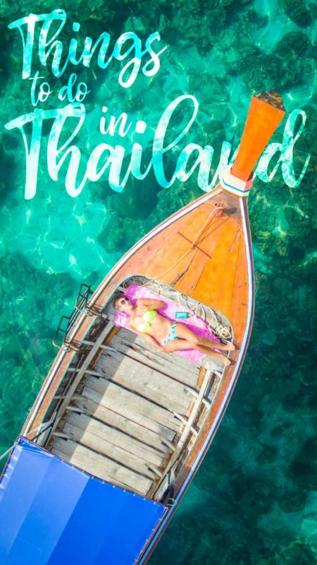 pinterest pin for things to do in Thailand - Woman laying in a thai boat