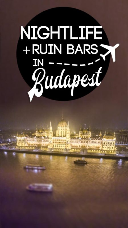 Parliament building at night for the drone - Pinterest Pin for Budapest Nightlife and Ruin Bars