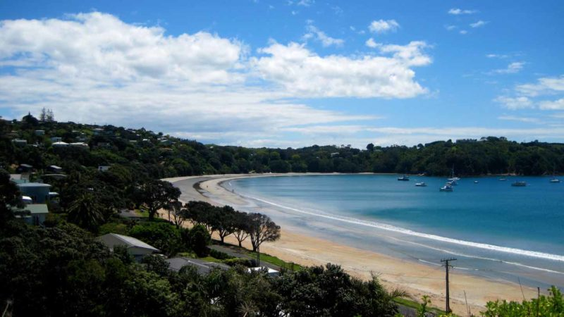 Beach and ocean in Waiheke Island a quick day trip from Auckland