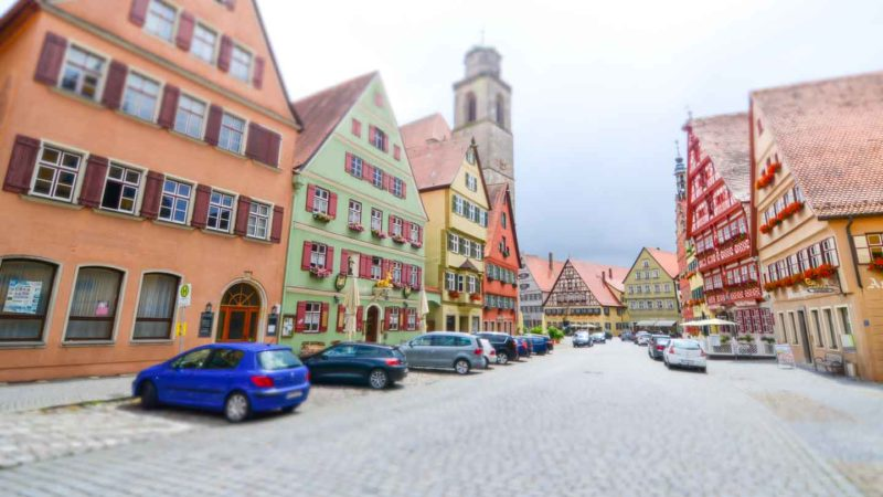 timber-framed houses in Dinkelsbuhl Germany while driving the Romantic Road