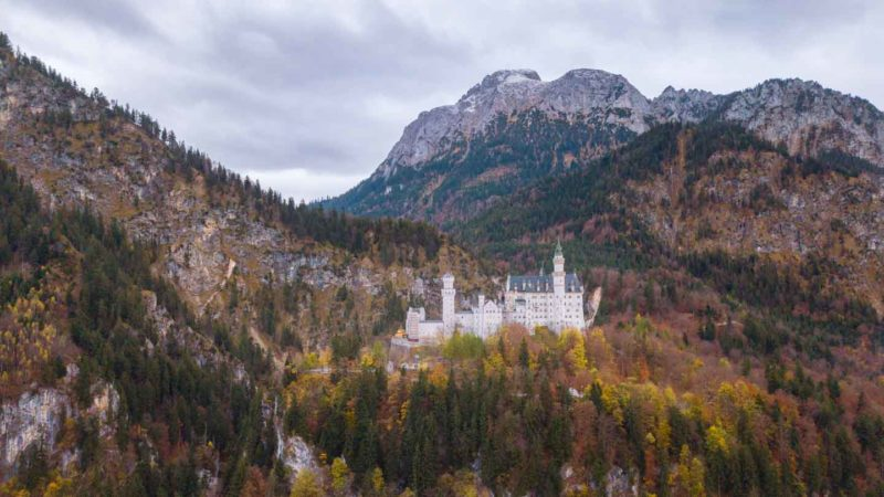View of Neuschwanstein Castle close to the town of Fussen along the Romantic road