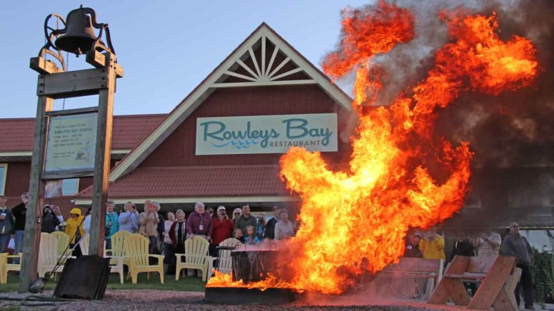 "Door County Fish Boil ""boilover"" at Rowley's Bay Restaurant"