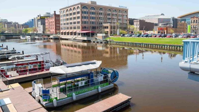 Pedal Tavern Boats in the Milwaukee river - things to do on a weekend in Milwaukee