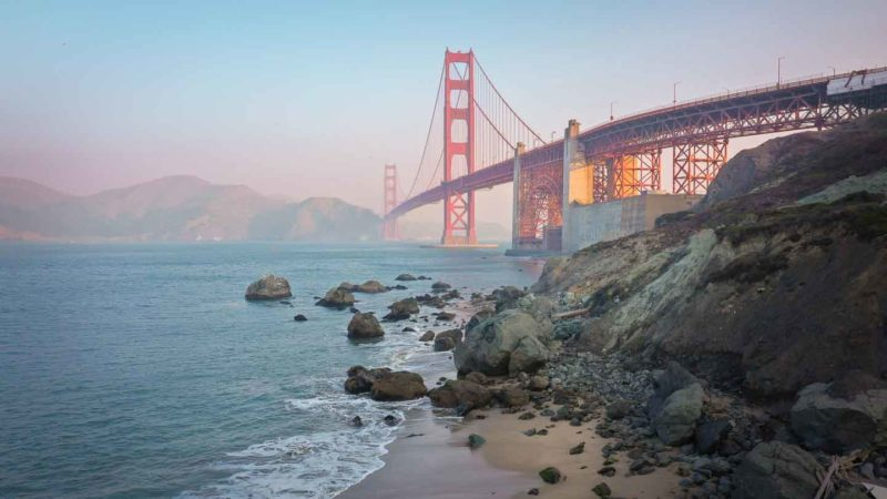 View from Marshall's beach at sunrise with golden gate bridge - Best San Francisco Itinerary