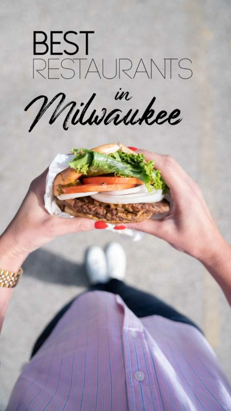 Pinterest pin for best restaurants in Milwaukee - Woman holding a burger - Local favorite places to eat