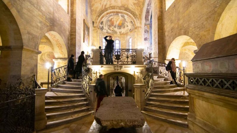 Two stone staircases leading to the Alter of the St. Georges Basilica inside the Prague Castle