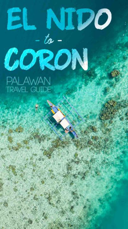 Drone photo of a ferry boat traveling from El Nido to coron Palawan in aqua colored water - Pinterest Pin