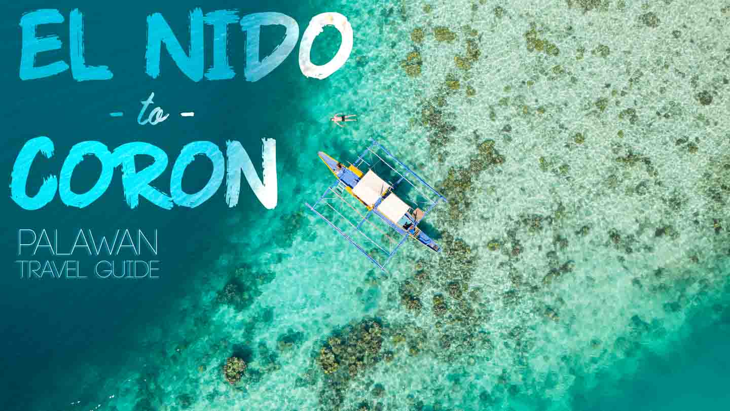 Drone photo looking down at boat ferry traveling from El Nido to Coron Palawan Philippines - Featured Iamge