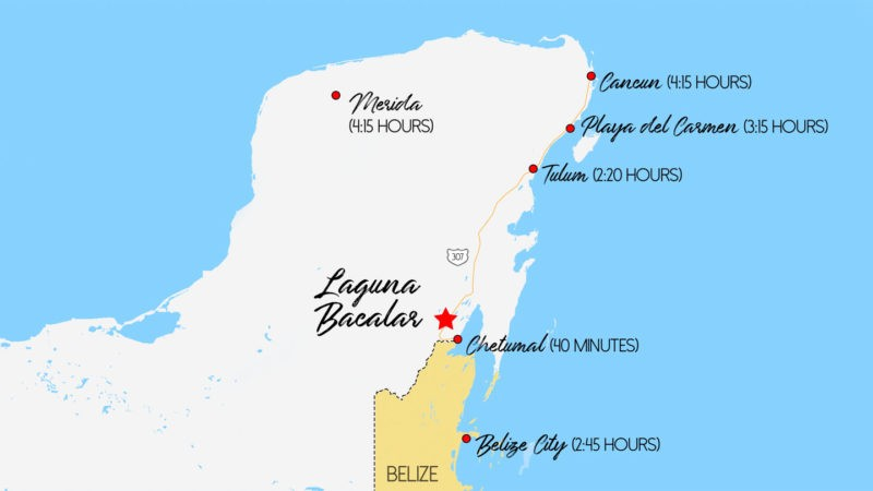 map of how to get to Laguna Bacalar Mexico - travel times from tourist areas in mexico