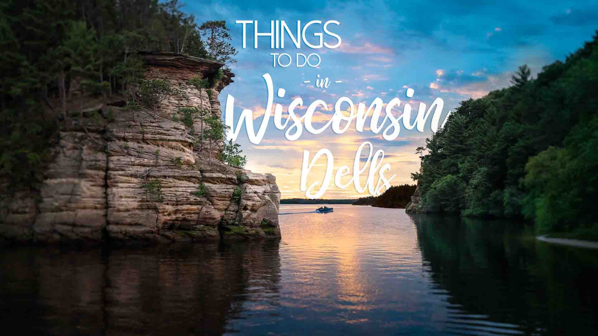 sunset with Dells rock formations - Featured Image for things to do in Wisconsin Dells