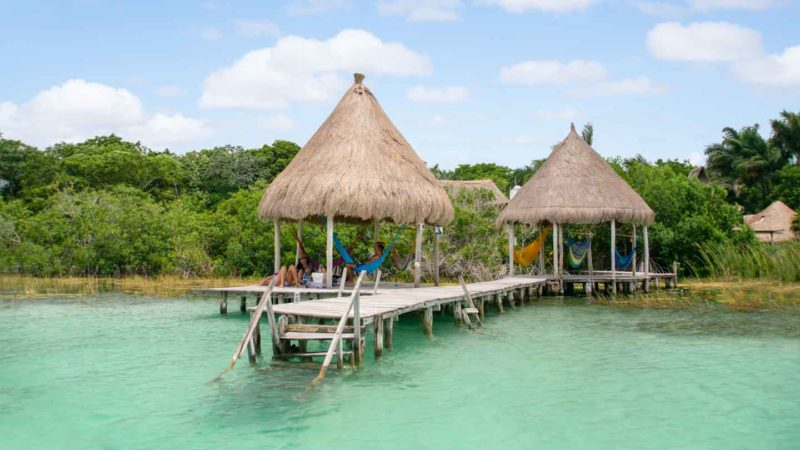 Pier of a hotel on Laguna Bacalar - places to stay on the lake in Bacalar Mexico