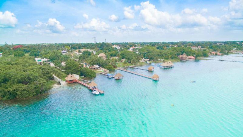 Aerial photo of hotels in Bacalar Mexico on the lake or lagoon