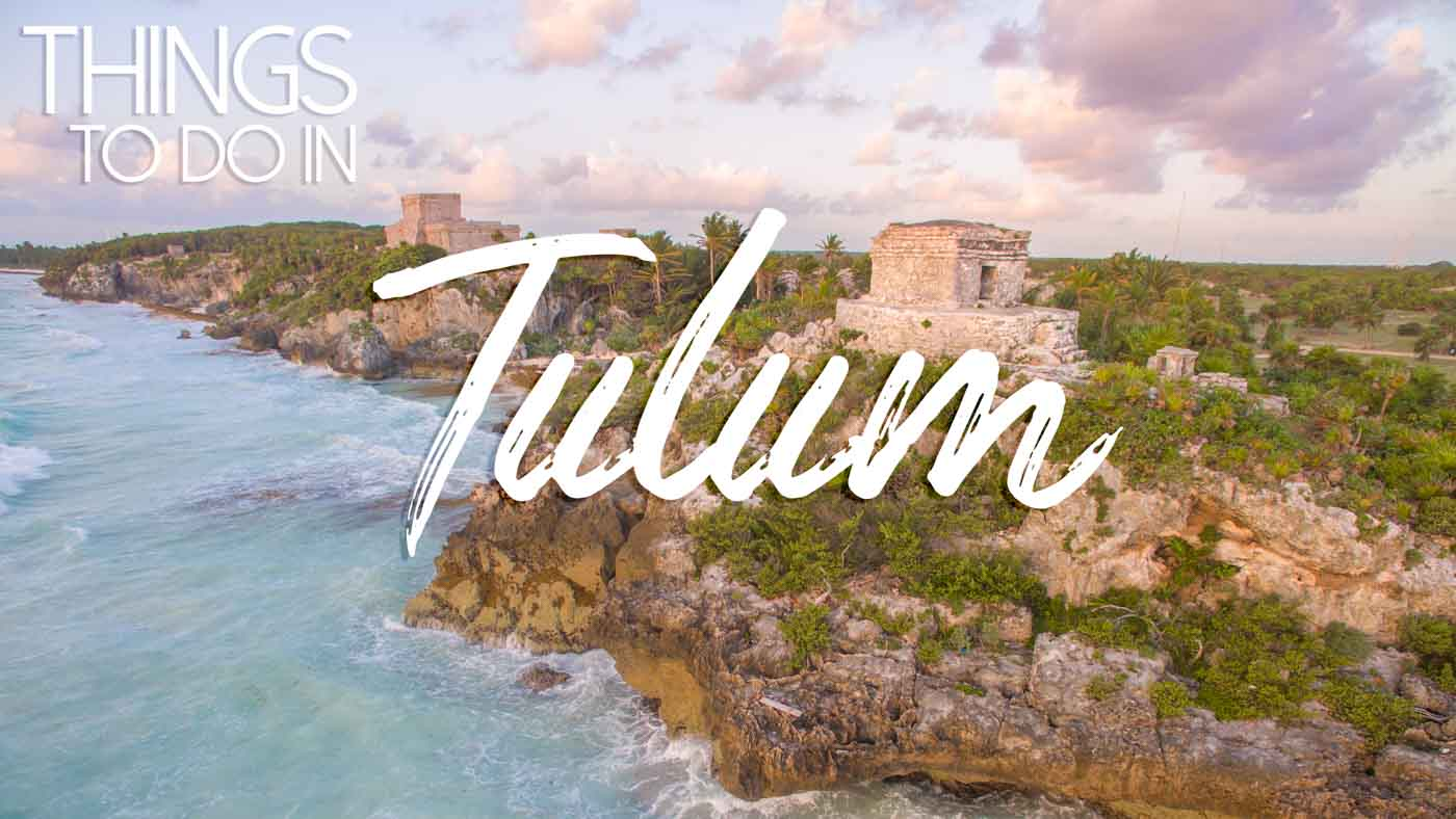 Aerial view of the Tulum Ruins at sunrise - Top things to do in Tulum Mexico