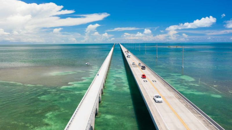 Aerial View of the 7 mile bridge - Top things to see on a Road trip from Miami to Key West - Florida